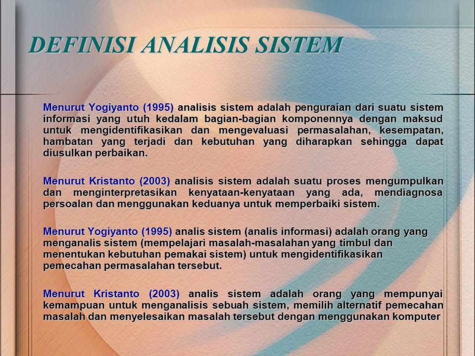 DEFINISI ANALISIS SISTEM Menurut Yogiyanto (1995) analisis sistem adalah penguraian dari suatu sistem informasi yang utuh kedalam bagian-bagian kompon