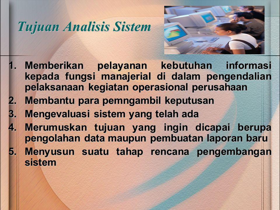 Tujuan Analisis Sistem 1.M emberikan pelayanan kebutuhan informasi kepada fungsi manajerial di dalam pengendalian pelaksanaan kegiatan operasional per