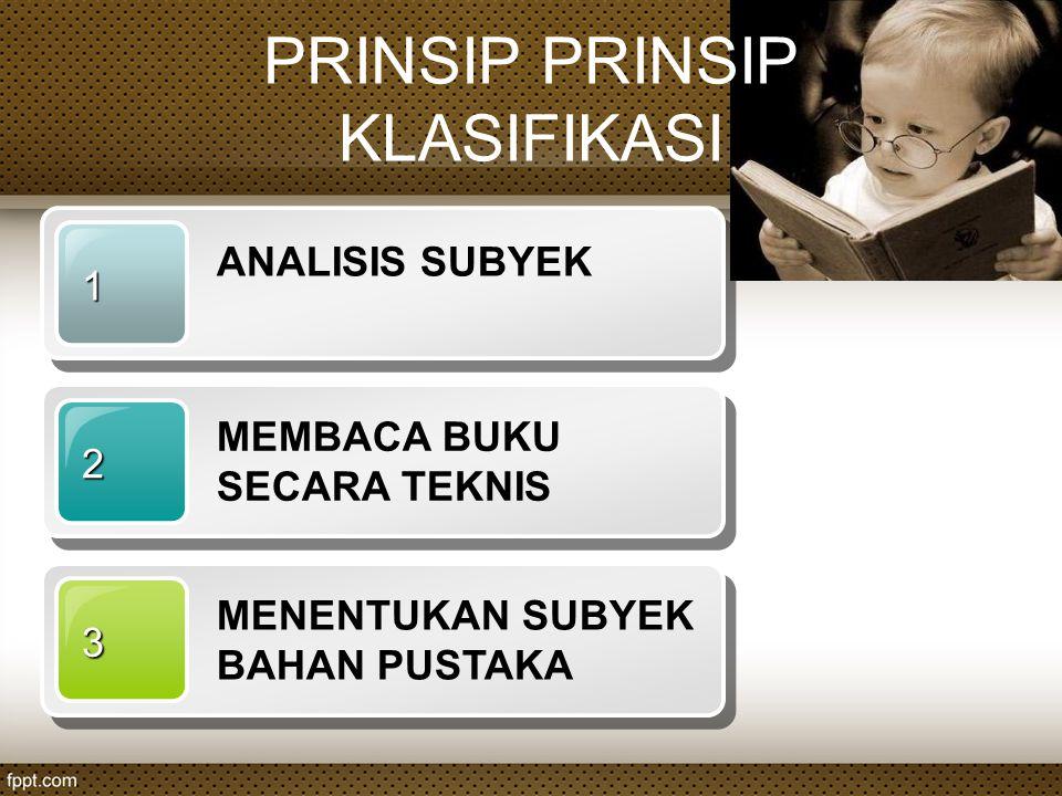 PRINSIP PRINSIP KLASIFIKASI 1 ANALISIS SUBYEK 2 MEMBACA BUKU SECARA TEKNIS 3 MENENTUKAN SUBYEK BAHAN PUSTAKA