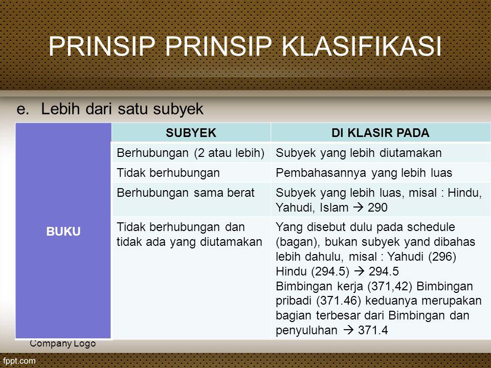 Company Logo PRINSIP PRINSIP KLASIFIKASI e.Lebih dari satu subyek BUKU SUBYEKDI KLASIR PADA Berhubungan (2 atau lebih)Subyek yang lebih diutamakan Tid