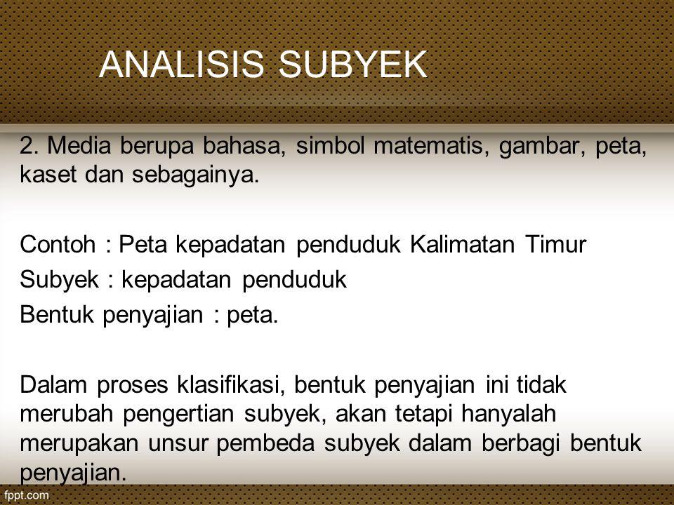 ANALISIS SUBYEK Contoh : International dictionary of psychology Subyek : psikologi Bentuk penyajian : kamus.