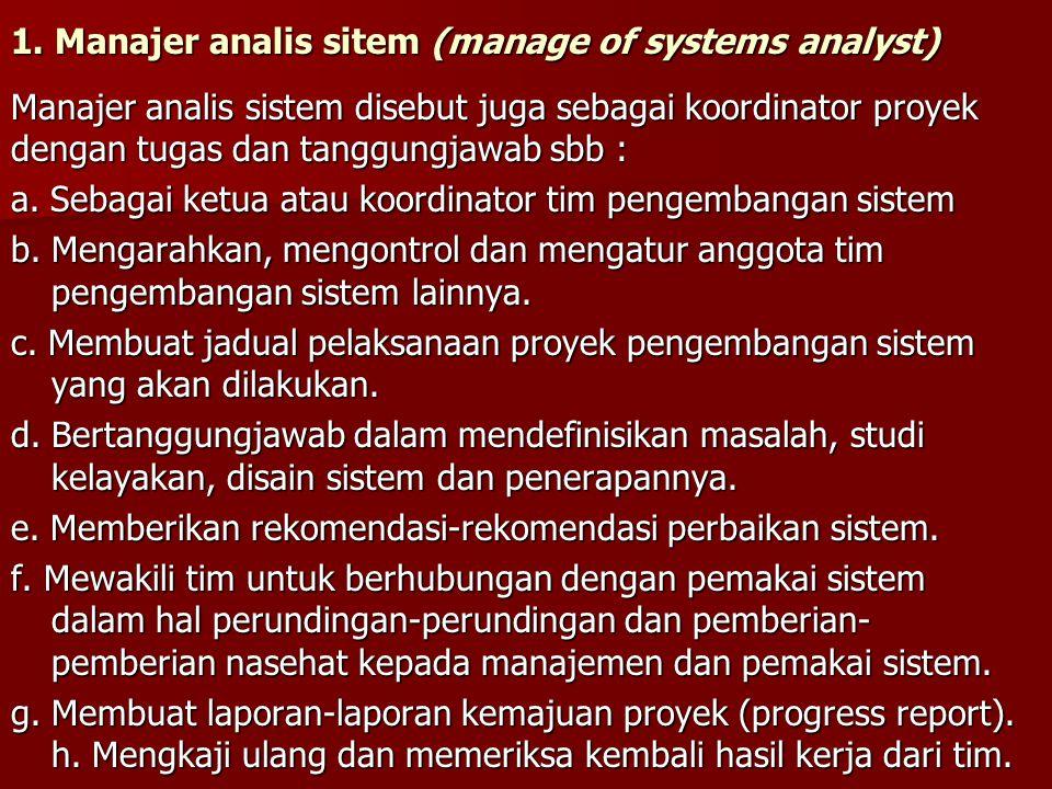 1. Manajer analis sitem (manage of systems analyst) Manajer analis sistem disebut juga sebagai koordinator proyek dengan tugas dan tanggungjawab sbb :