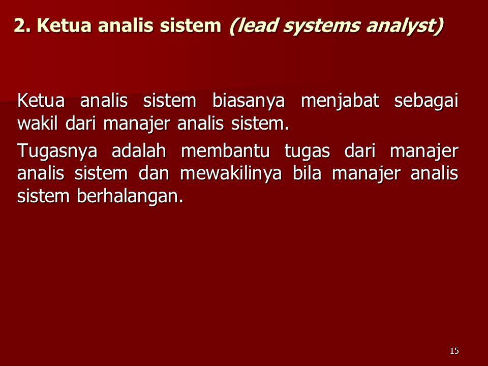 2. Ketua analis sistem (lead systems analyst) Ketua analis sistem biasanya menjabat sebagai wakil dari manajer analis sistem. Tugasnya adalah membantu