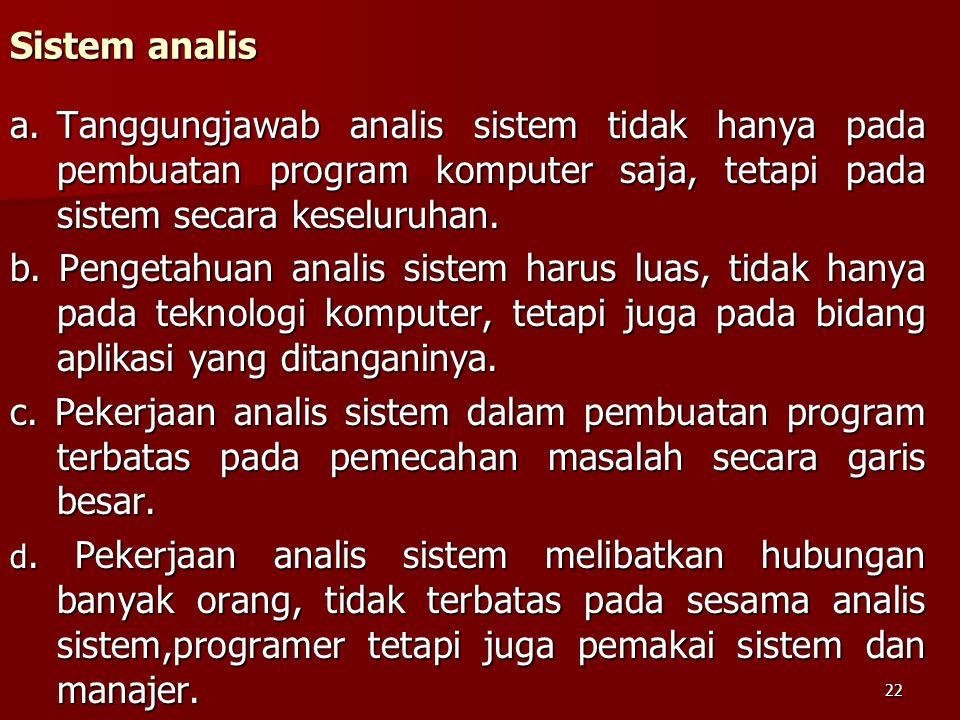 Sistem analis a.Tanggungjawab analis sistem tidak hanya pada pembuatan program komputer saja, tetapi pada sistem secara keseluruhan. b. Pengetahuan an