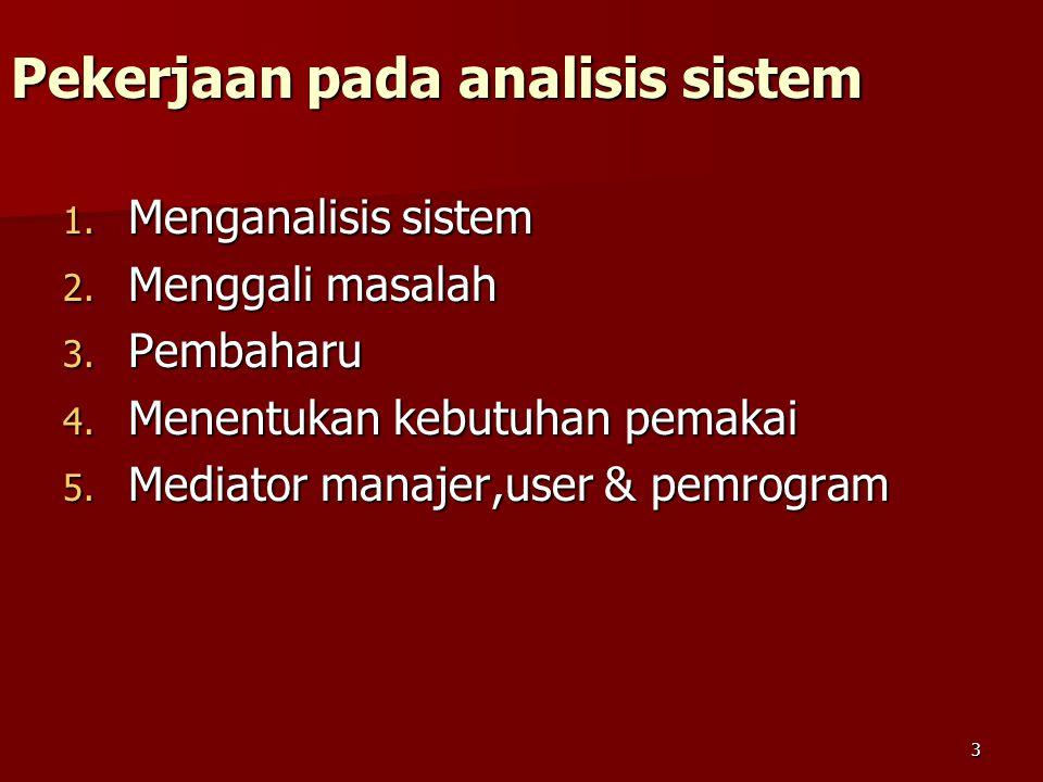 3 Pekerjaan pada analisis sistem 1. Menganalisis sistem 2. Menggali masalah 3. Pembaharu 4. Menentukan kebutuhan pemakai 5. Mediator manajer,user & pe