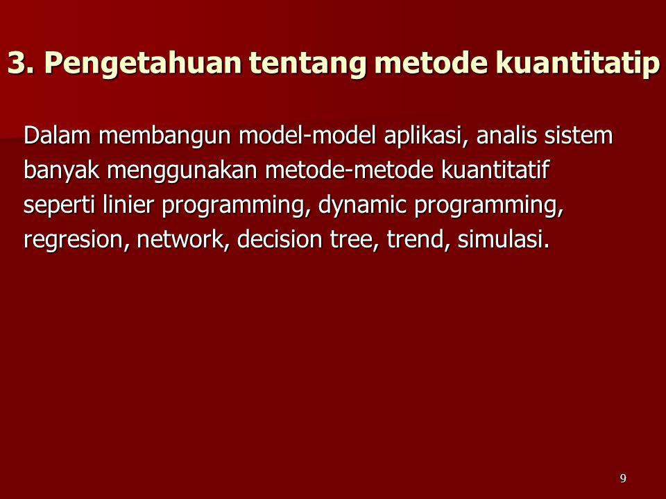 3. Pengetahuan tentang metode kuantitatip Dalam membangun model-model aplikasi, analis sistem banyak menggunakan metode-metode kuantitatif seperti lin