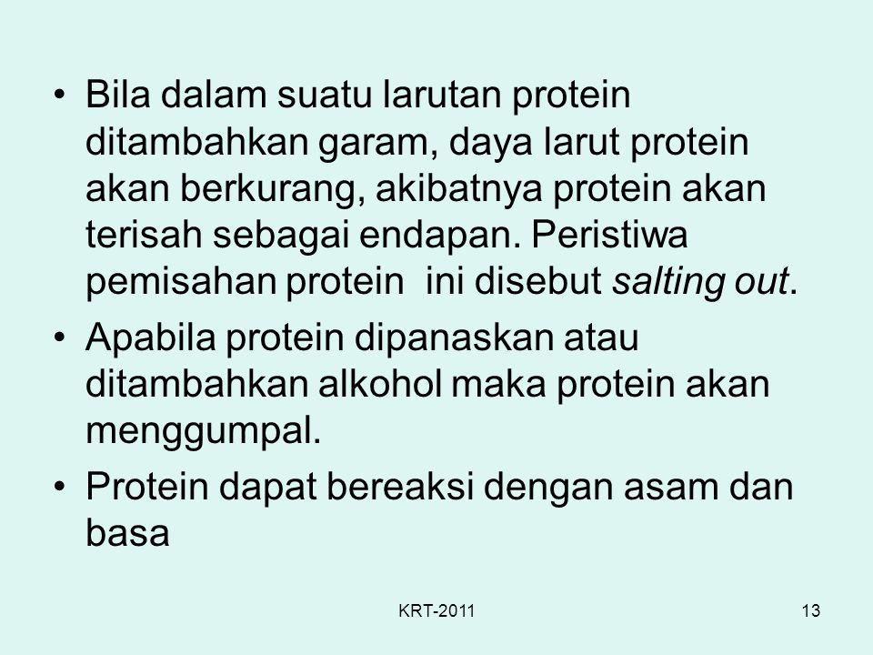 KRT-201113 Bila dalam suatu larutan protein ditambahkan garam, daya larut protein akan berkurang, akibatnya protein akan terisah sebagai endapan. Peri