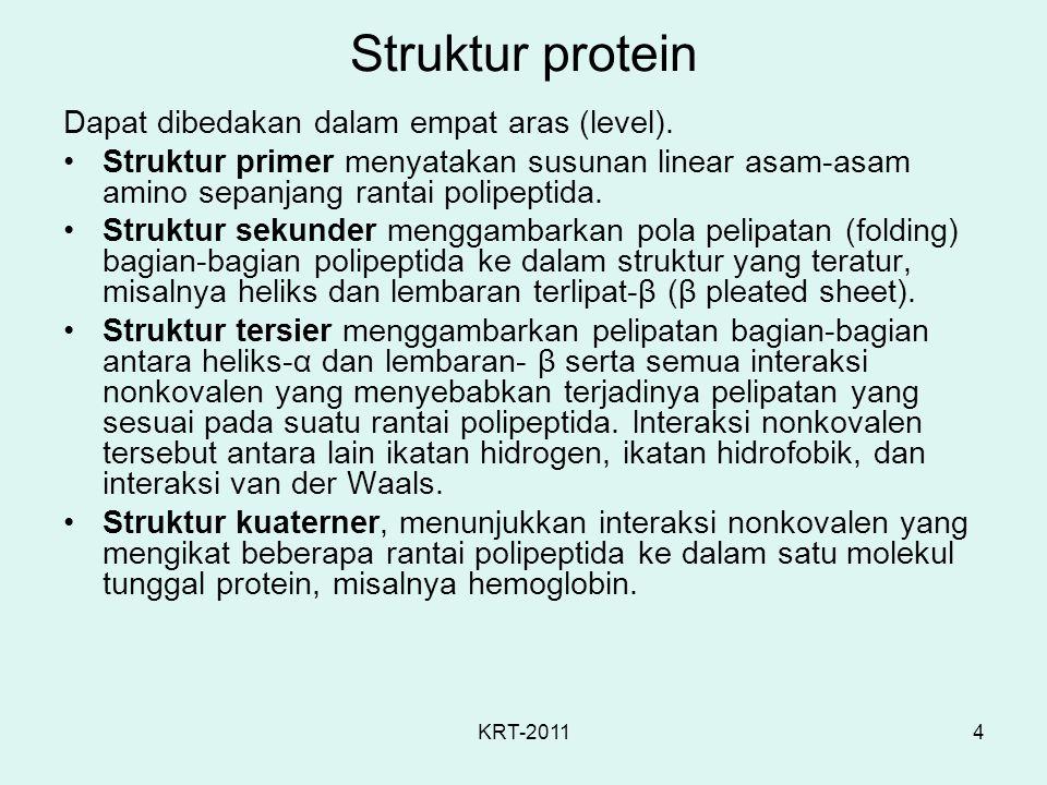 KRT-20114 Struktur protein Dapat dibedakan dalam empat aras (level). Struktur primer menyatakan susunan linear asam-asam amino sepanjang rantai polipe