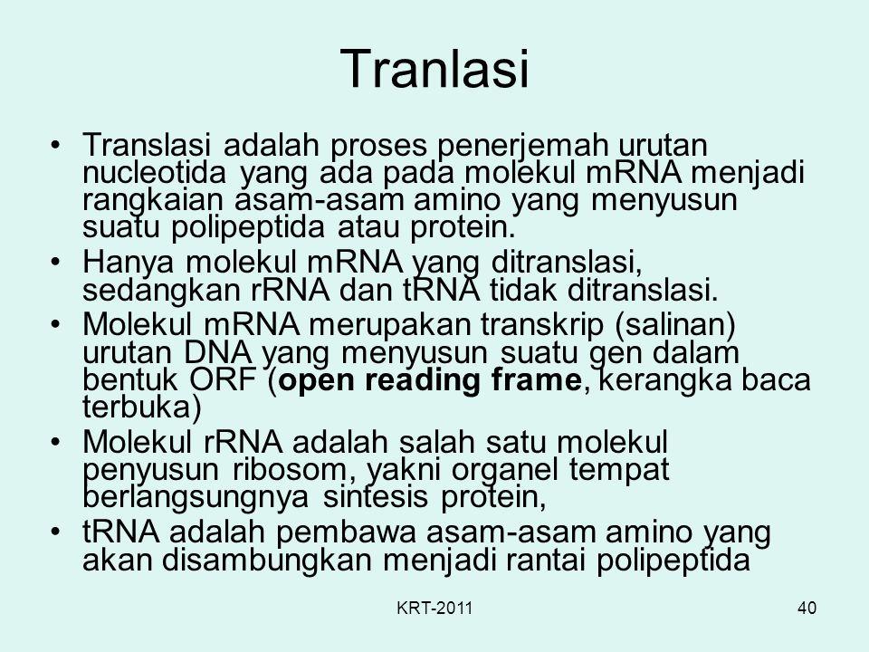 KRT-201140 Tranlasi Translasi adalah proses penerjemah urutan nucleotida yang ada pada molekul mRNA menjadi rangkaian asam-asam amino yang menyusun su