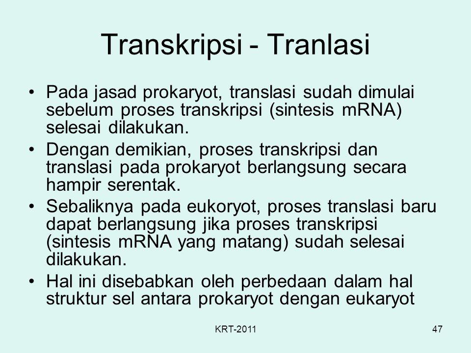 KRT-201147 Transkripsi - Tranlasi Pada jasad prokaryot, translasi sudah dimulai sebelum proses transkripsi (sintesis mRNA) selesai dilakukan. Dengan d