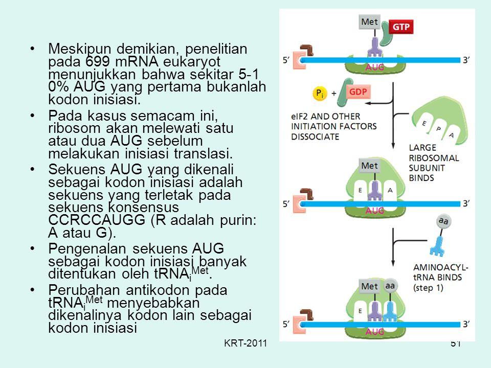 KRT-201151 Meskipun demikian, penelitian pada 699 mRNA eukaryot menunjukkan bahwa sekitar 5-1 0% AUG yang pertama bukanlah kodon inisiasi. Pada kasus
