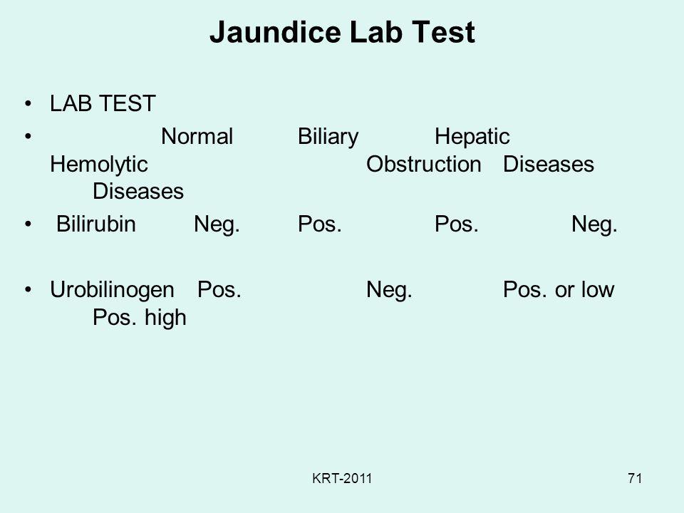 KRT-201171 Jaundice Lab Test LAB TEST Normal BiliaryHepatic Hemolytic ObstructionDiseases Diseases Bilirubin Neg.Pos.Pos.Neg. Urobilinogen Pos.Neg.Pos