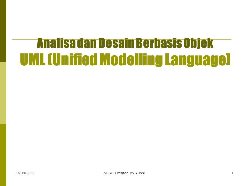 13/08/2009ADBO-Created By Yunhi1 Analisa dan Desain Berbasis Objek UML (Unified Modelling Language]