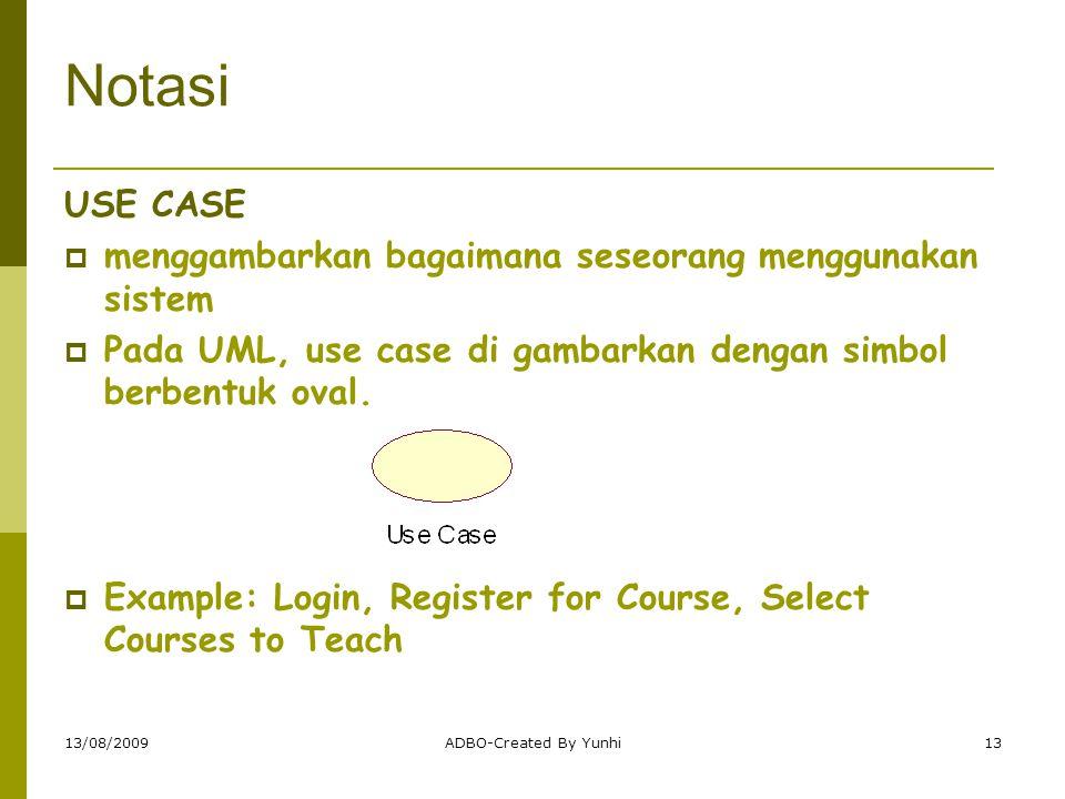13/08/2009ADBO-Created By Yunhi13 Notasi USE CASE  menggambarkan bagaimana seseorang menggunakan sistem  Pada UML, use case di gambarkan dengan simb