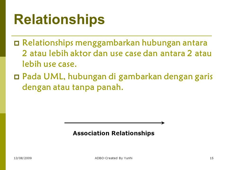13/08/2009ADBO-Created By Yunhi15 Relationships  Relationships menggambarkan hubungan antara 2 atau lebih aktor dan use case dan antara 2 atau lebih