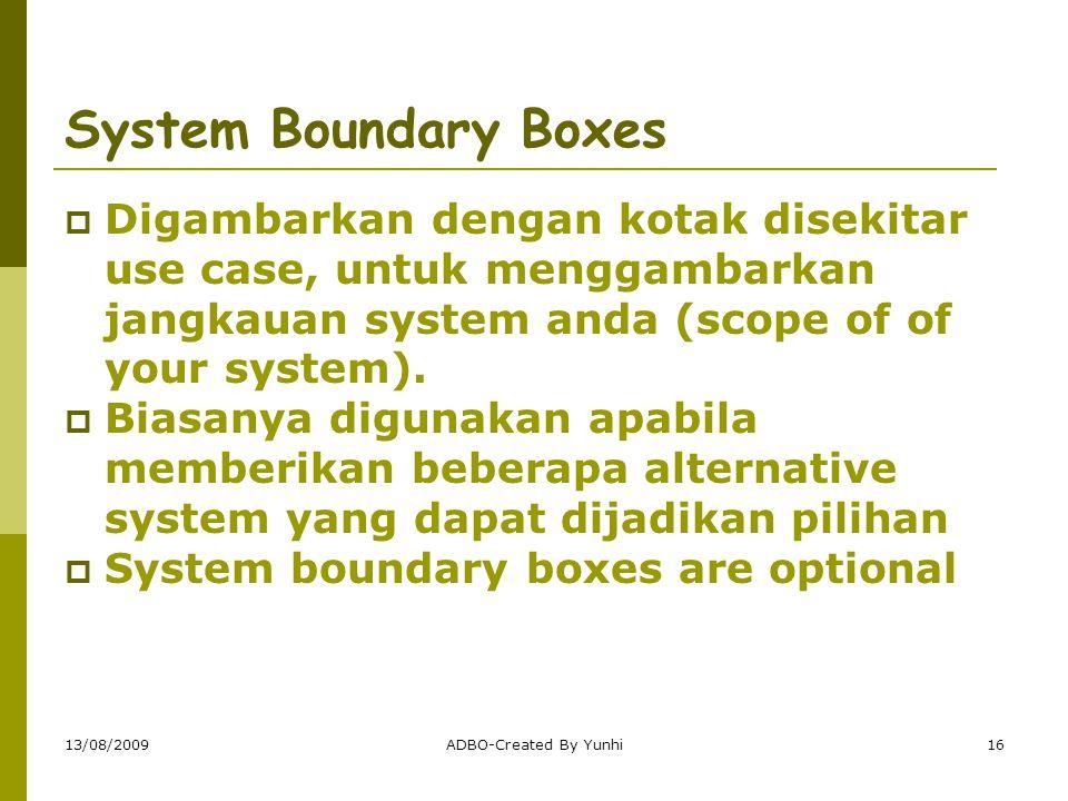 13/08/2009ADBO-Created By Yunhi16 System Boundary Boxes  Digambarkan dengan kotak disekitar use case, untuk menggambarkan jangkauan system anda (scop