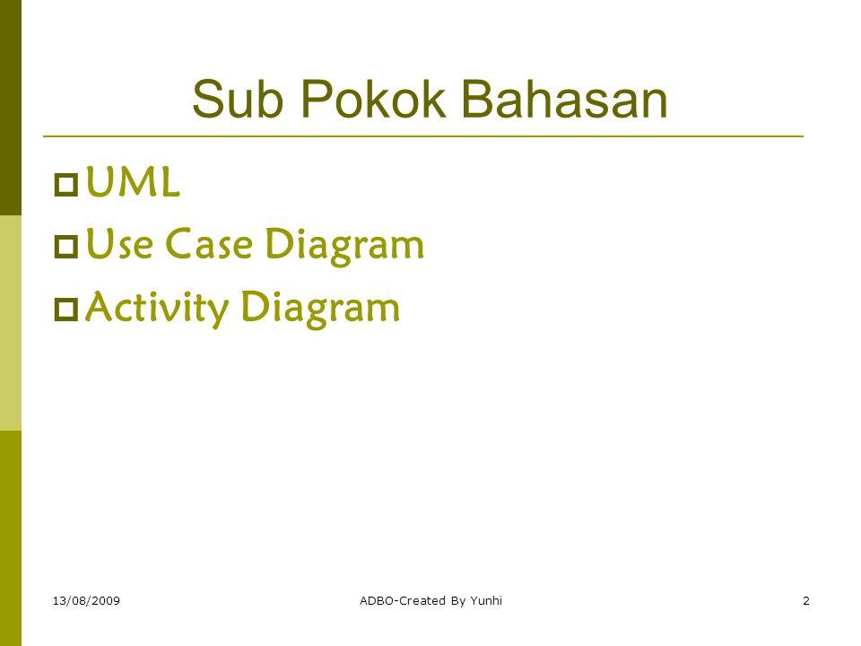 13/08/2009ADBO-Created By Yunhi23 Pemodelan aktivitas Use-Case Activity diagram – diagram yang digunakan untuk menggambarkan  Proses bisnis,  Langkah-langkah use case  Logika perilaku obyek/ metode