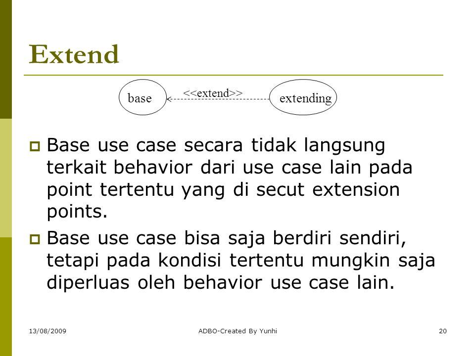 13/08/2009ADBO-Created By Yunhi20 Extend  Base use case secara tidak langsung terkait behavior dari use case lain pada point tertentu yang di secut e