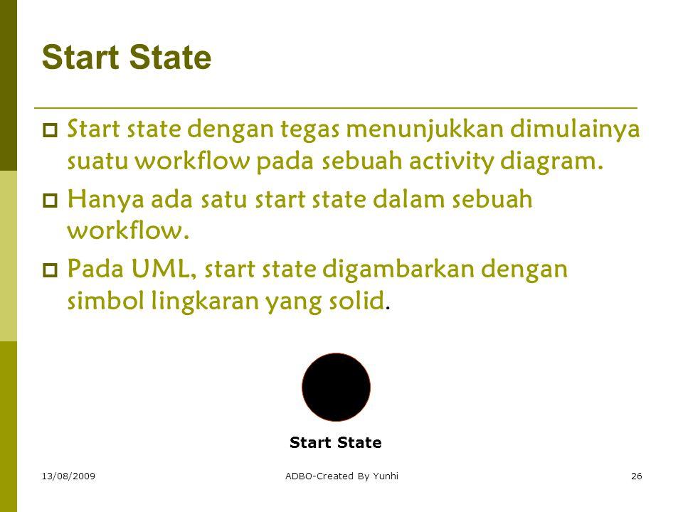 13/08/2009ADBO-Created By Yunhi26 Start State  Start state dengan tegas menunjukkan dimulainya suatu workflow pada sebuah activity diagram.  Hanya a