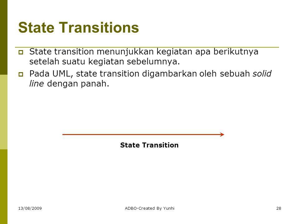 13/08/2009ADBO-Created By Yunhi28 State Transitions  State transition menunjukkan kegiatan apa berikutnya setelah suatu kegiatan sebelumnya.  Pada U