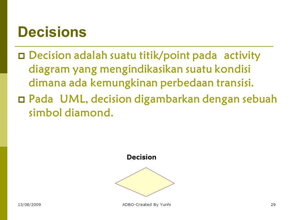 13/08/2009ADBO-Created By Yunhi29 Decisions  Decision adalah suatu titik/point pada activity diagram yang mengindikasikan suatu kondisi dimana ada ke