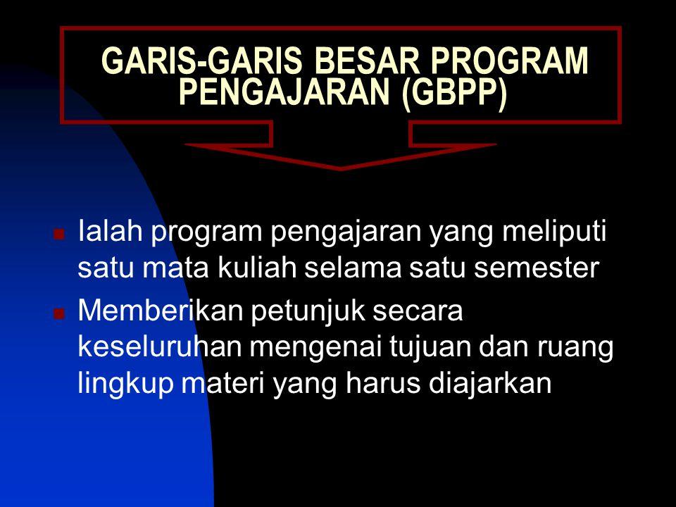 GARIS-GARIS BESAR PROGRAM PENGAJARAN (GBPP) Ialah program pengajaran yang meliputi satu mata kuliah selama satu semester Memberikan petunjuk secara keseluruhan mengenai tujuan dan ruang lingkup materi yang harus diajarkan