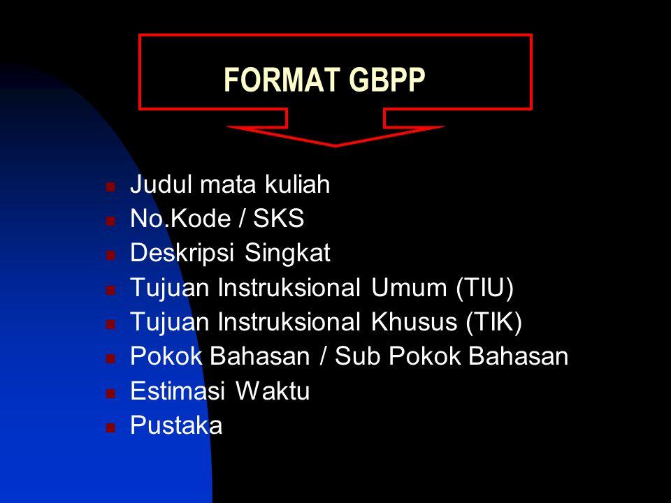 FORMAT GBPP Judul mata kuliah No.Kode / SKS Deskripsi Singkat Tujuan Instruksional Umum (TIU) Tujuan Instruksional Khusus (TIK) Pokok Bahasan / Sub Pokok Bahasan Estimasi Waktu Pustaka