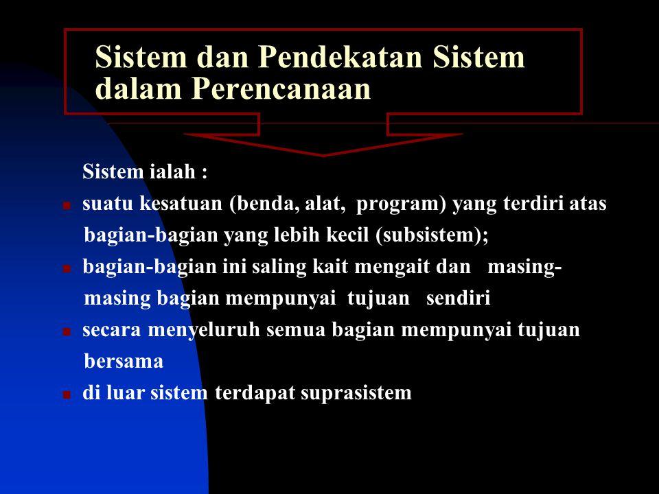 Sistem dan Pendekatan Sistem dalam Perencanaan Sistem ialah : suatu kesatuan (benda, alat, program) yang terdiri atas bagian-bagian yang lebih kecil (subsistem); bagian-bagian ini saling kait mengait dan masing- masing bagian mempunyai tujuan sendiri secara menyeluruh semua bagian mempunyai tujuan bersama di luar sistem terdapat suprasistem
