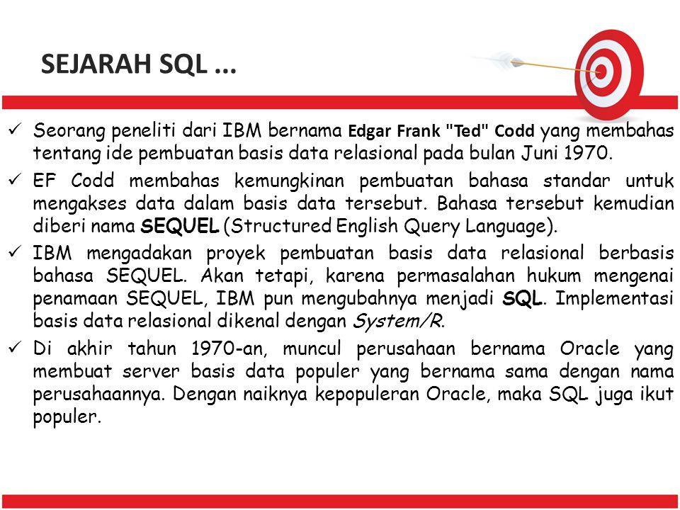 SEJARAH SQL... Seorang peneliti dari IBM bernama Edgar Frank