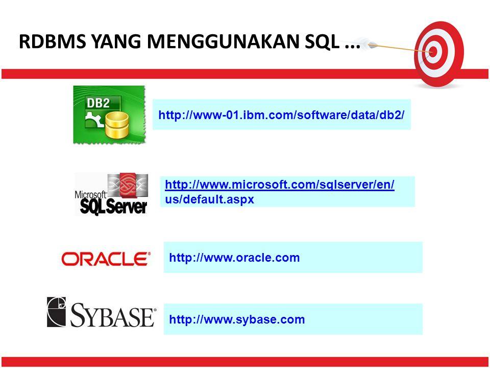 RDBMS YANG MENGGUNAKAN SQL... http://www-01.ibm.com/software/data/db2/ http://www.microsoft.com/sqlserver/en/ us/default.aspx http://www.oracle.com ht