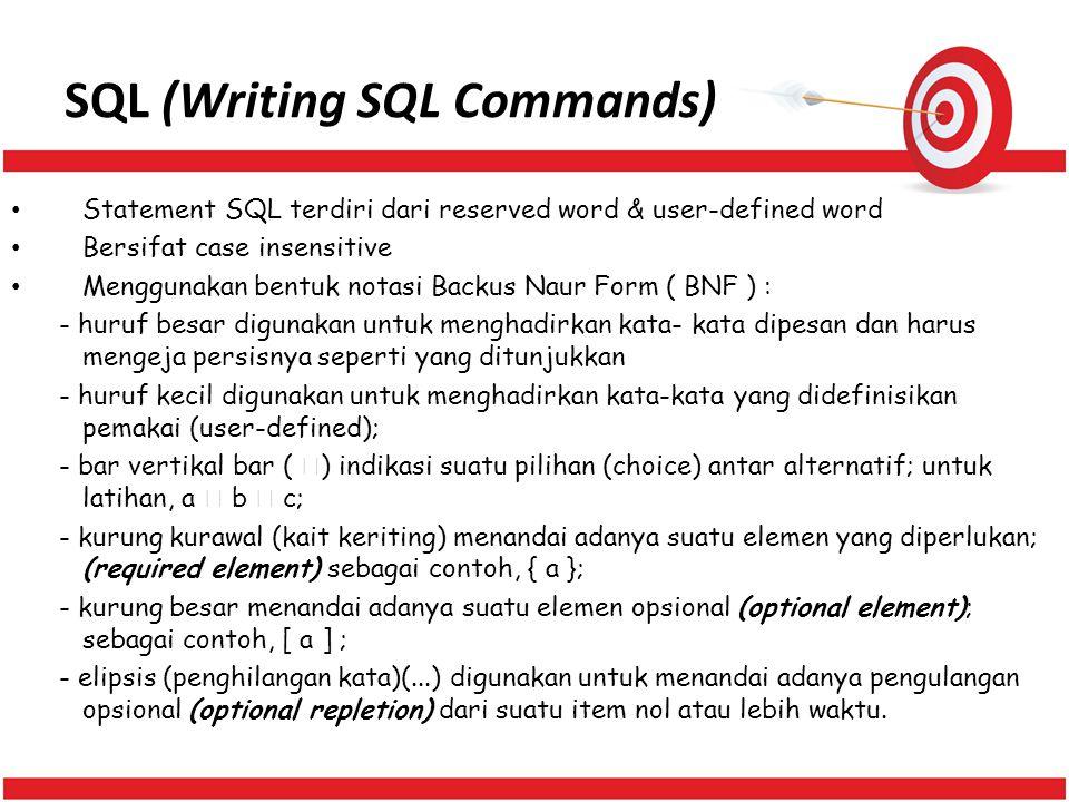 SQL (Writing SQL Commands) Statement SQL terdiri dari reserved word & user-defined word Bersifat case insensitive Menggunakan bentuk notasi Backus Nau
