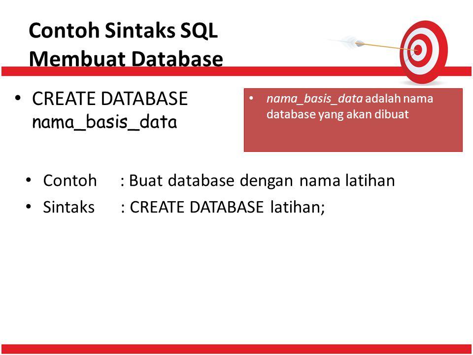 Contoh Sintaks SQL Membuat Database CREATE DATABASE nama_basis_data nama_basis_data adalah nama database yang akan dibuat Contoh: Buat database dengan