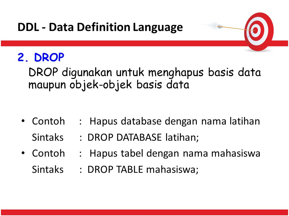DDL - Data Definition Language 2.