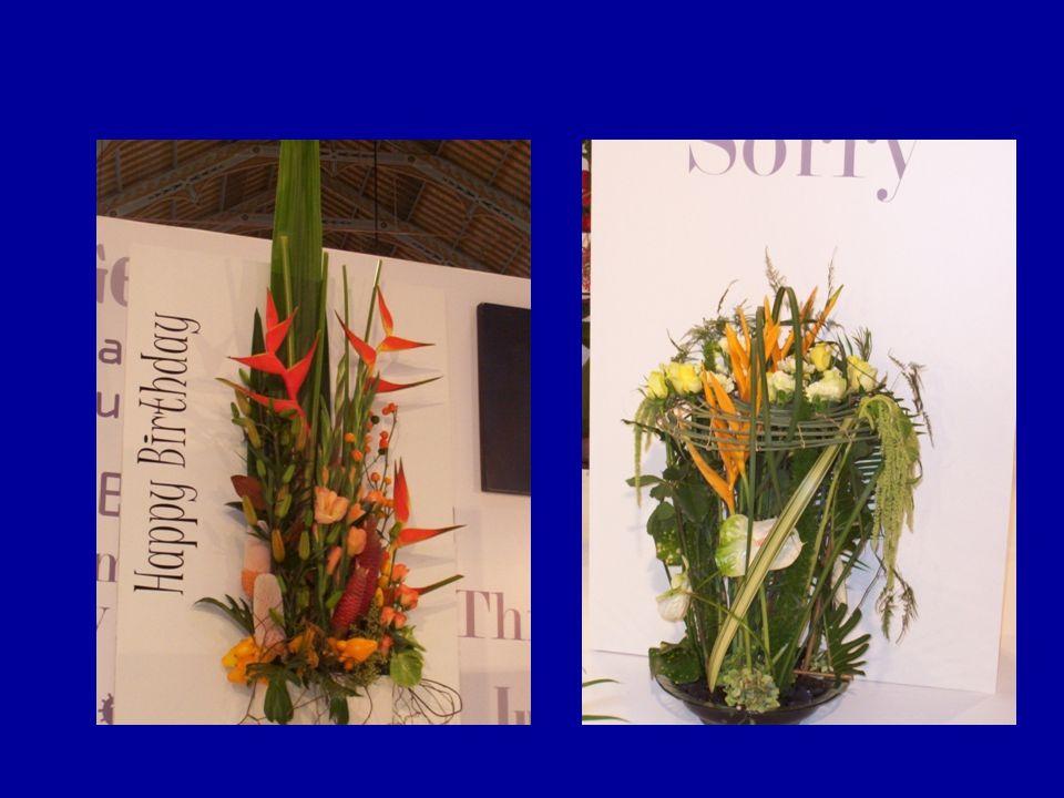 Rangkaian bunga dapat menggunakan berbagai elemen: batu, kayu, sayuran, buah