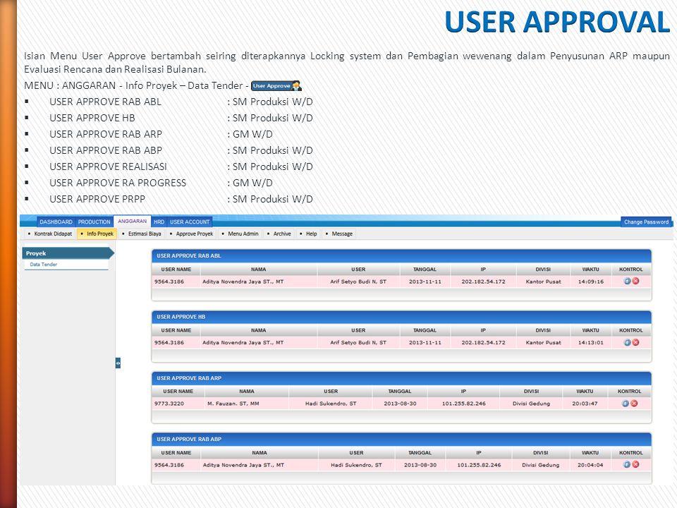 Isian Menu User Approve bertambah seiring diterapkannya Locking system dan Pembagian wewenang dalam Penyusunan ARP maupun Evaluasi Rencana dan Realisa