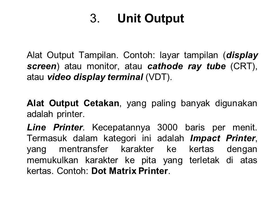 3.Unit Output Alat Output Tampilan. Contoh: layar tampilan (display screen) atau monitor, atau cathode ray tube (CRT), atau video display terminal (VD