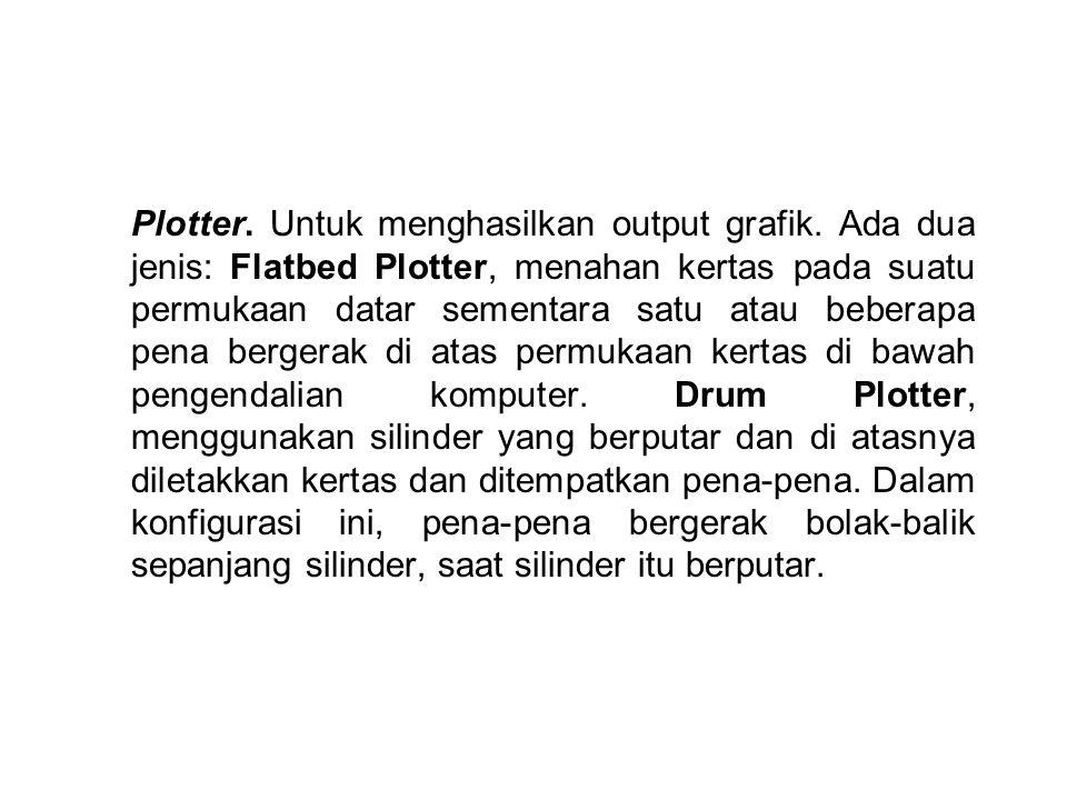 Plotter. Untuk menghasilkan output grafik. Ada dua jenis: Flatbed Plotter, menahan kertas pada suatu permukaan datar sementara satu atau beberapa pena