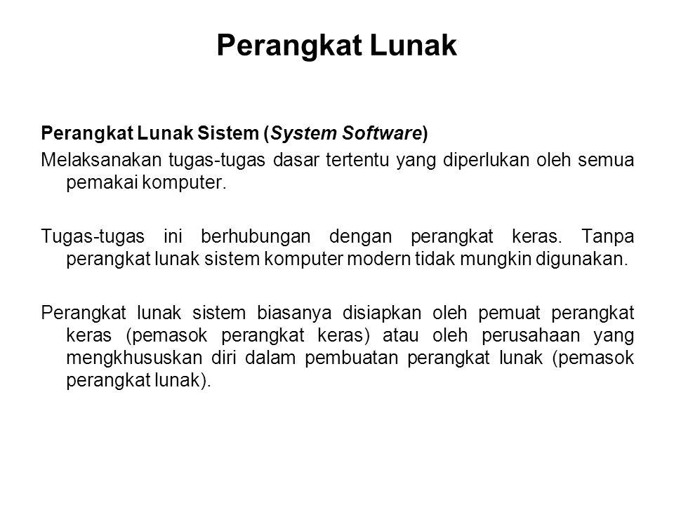 Perangkat Lunak Perangkat Lunak Sistem (System Software) Melaksanakan tugas-tugas dasar tertentu yang diperlukan oleh semua pemakai komputer. Tugas-tu