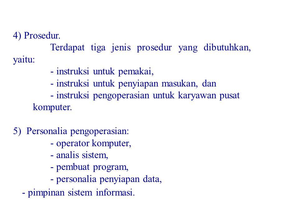 4) Prosedur. Terdapat tiga jenis prosedur yang dibutuhkan, yaitu: - instruksi untuk pemakai, - instruksi untuk penyiapan masukan, dan - instruksi peng