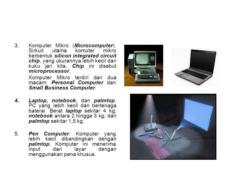 3.Komputer Mikro (Microcomputer). Sirkuit utama komuter mikro berbentuk silicon integrated circuit chip, yang ukurannya lebih kecil dari kuku jari kit