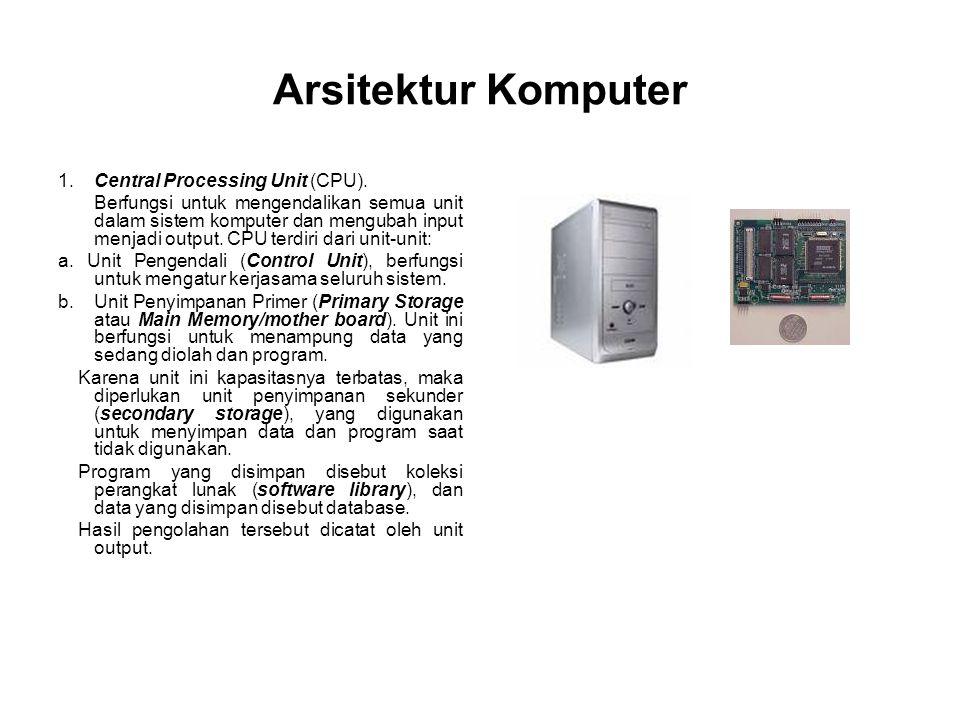 Arsitektur Komputer 1.Central Processing Unit (CPU). Berfungsi untuk mengendalikan semua unit dalam sistem komputer dan mengubah input menjadi output.