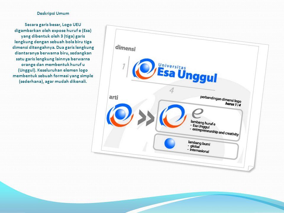 Deskripsi Umum Secara garis besar, Logo UEU digambarkan oleh expose huruf e (Esa) yang dibentuk oleh 3 (tiga) garis lengkung dengan sebuah bola biru t