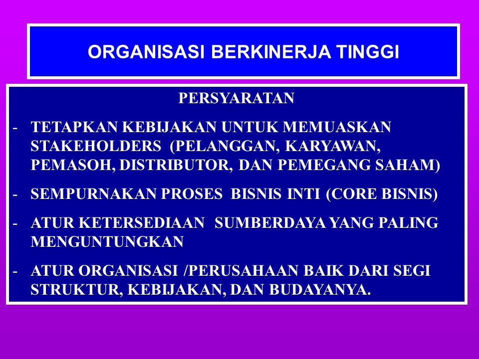 ORGANISASI BERKINERJA TINGGI PERSYARATAN -TETAPKAN KEBIJAKAN UNTUK MEMUASKAN STAKEHOLDERS (PELANGGAN, KARYAWAN, PEMASOH, DISTRIBUTOR, DAN PEMEGANG SAHAM) -SEMPURNAKAN PROSES BISNIS INTI (CORE BISNIS) -ATUR KETERSEDIAAN SUMBERDAYA YANG PALING MENGUNTUNGKAN -ATUR ORGANISASI /PERUSAHAAN BAIK DARI SEGI STRUKTUR, KEBIJAKAN, DAN BUDAYANYA.