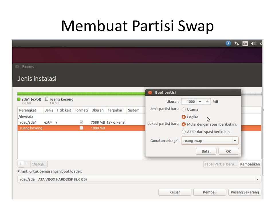 Membuat Partisi Swap