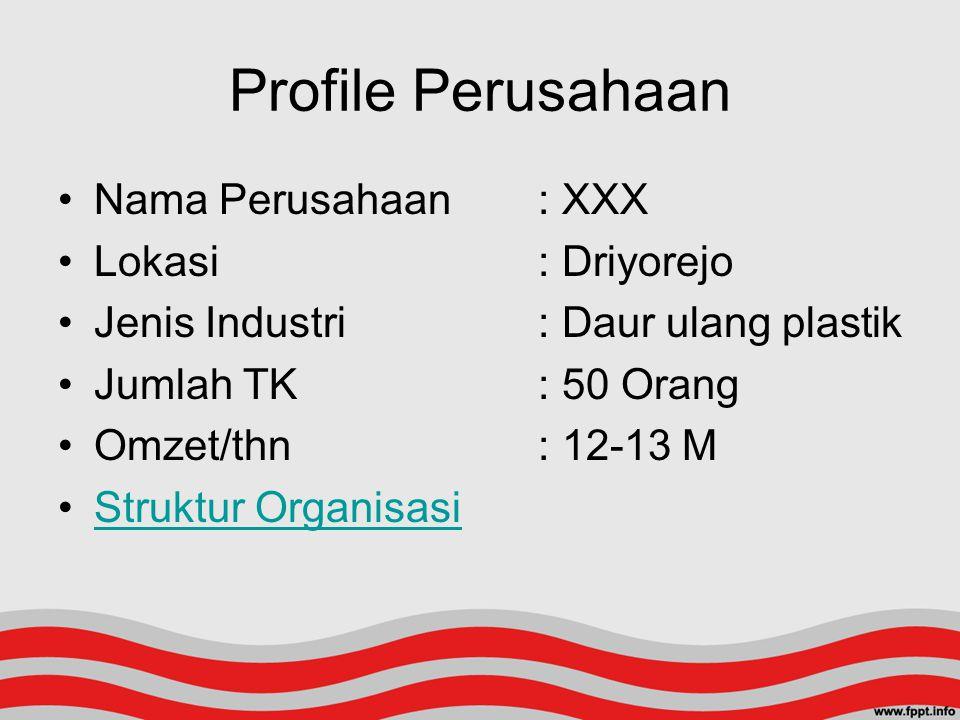 Profile Perusahaan Nama Perusahaan: XXX Lokasi: Driyorejo Jenis Industri: Daur ulang plastik Jumlah TK: 50 Orang Omzet/thn: 12-13 M Struktur Organisas