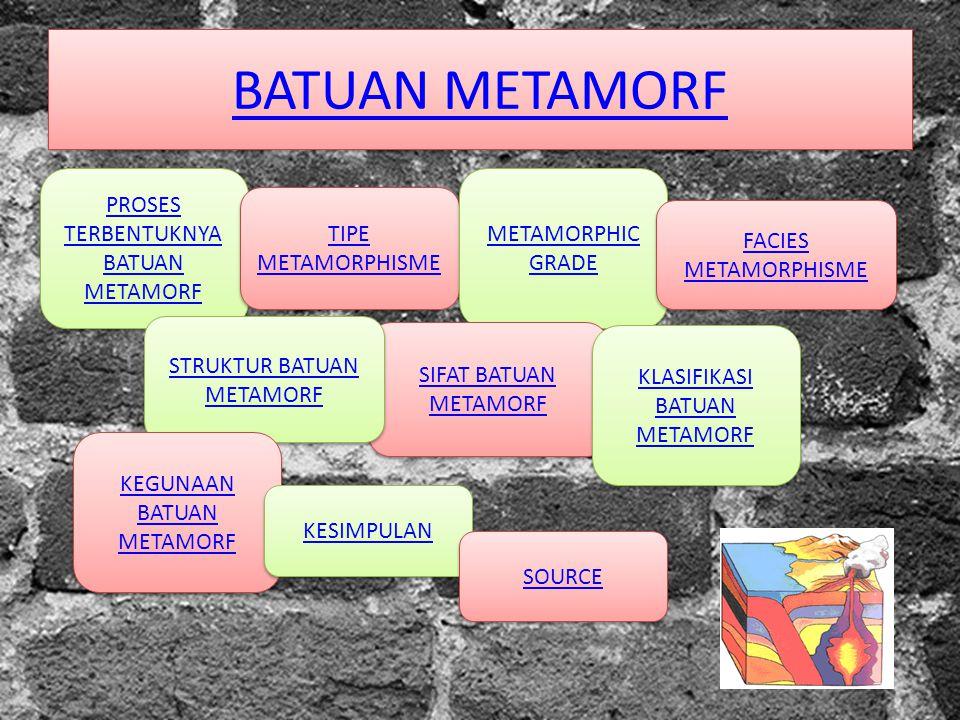 BATUAN METAMORF PROSES TERBENTUKNYA BATUAN METAMORF PROSES TERBENTUKNYA BATUAN METAMORF TIPE METAMORPHISME TIPE METAMORPHISME METAMORPHIC GRADE METAMO