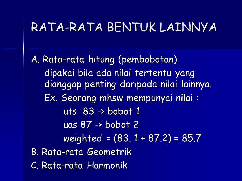 RATA-RATA BENTUK LAINNYA A. Rata-rata hitung (pembobotan) dipakai bila ada nilai tertentu yang dianggap penting daripada nilai lainnya. Ex. Seorang mh