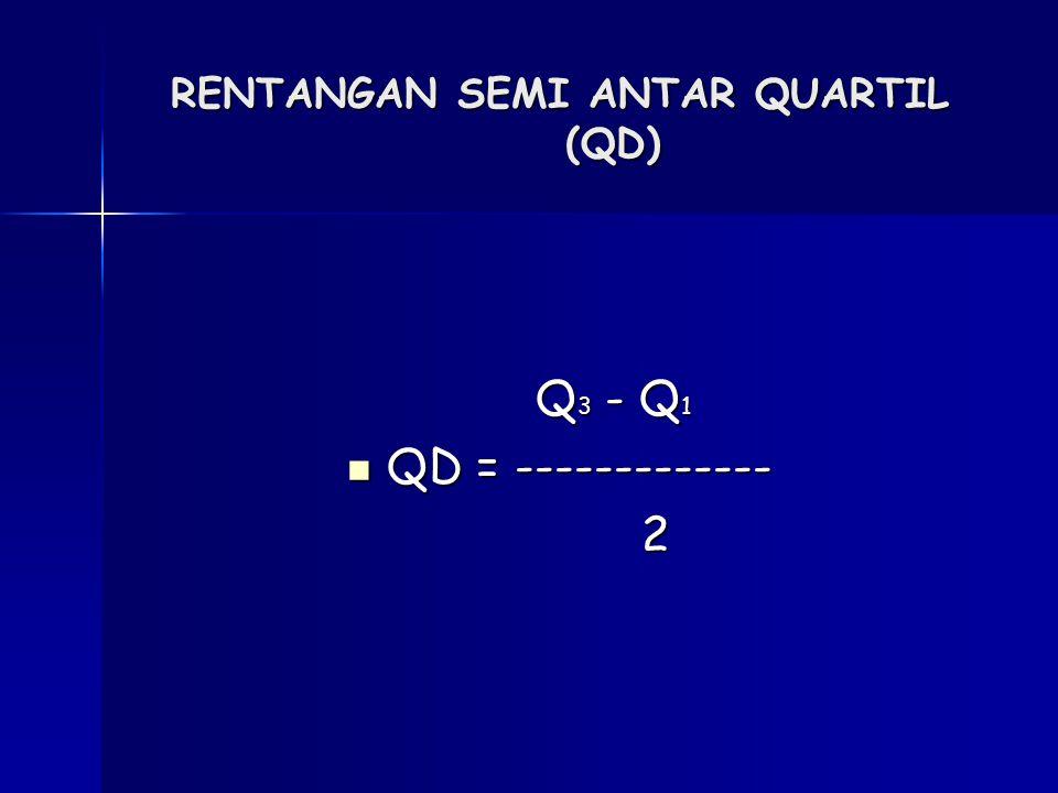 RENTANGAN SEMI ANTAR QUARTIL (QD) Q 3 - Q 1 QD = ------------- QD = ------------- 2