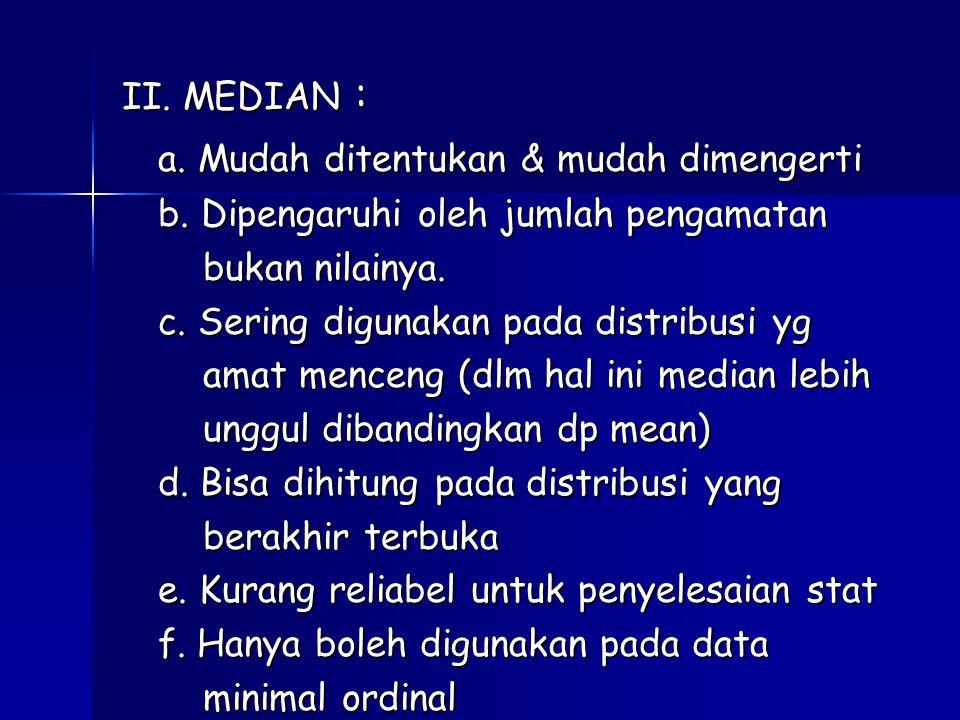 II.MEDIAN : a. Mudah ditentukan & mudah dimengerti b.