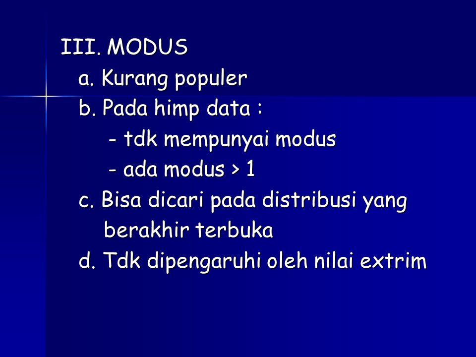 III. MODUS a. Kurang populer b. Pada himp data : - tdk mempunyai modus - ada modus > 1 c. Bisa dicari pada distribusi yang berakhir terbuka berakhir t